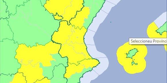 10. La Comunitat Valenciana està aquest dijous en avís groc per vents que arribaran als 80 km/h