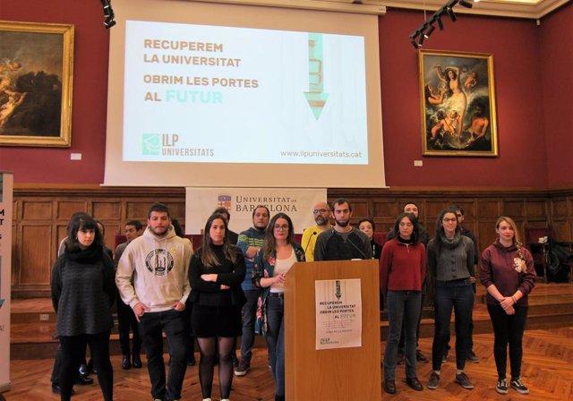Presentación de ILP sobre universidades, con sus portavoces A.Sanuy y O.Sales