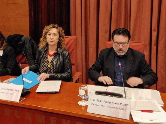 La consellera de Justícia, Ester Capella, i el diputat dels comuns Joan Josep Nu