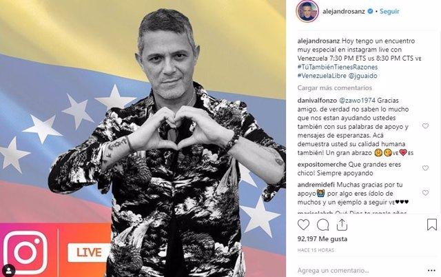 Conversación de Alejandro Sanz con Juan Guaidó a través de Instagram
