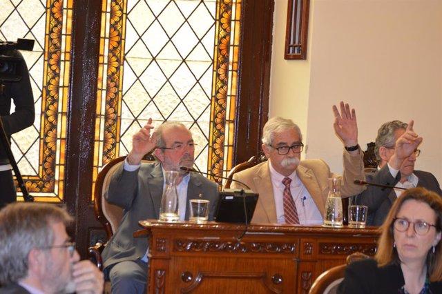 Joan Reñé, votant a favor de la comissió informativa sobre el seu cas judicial