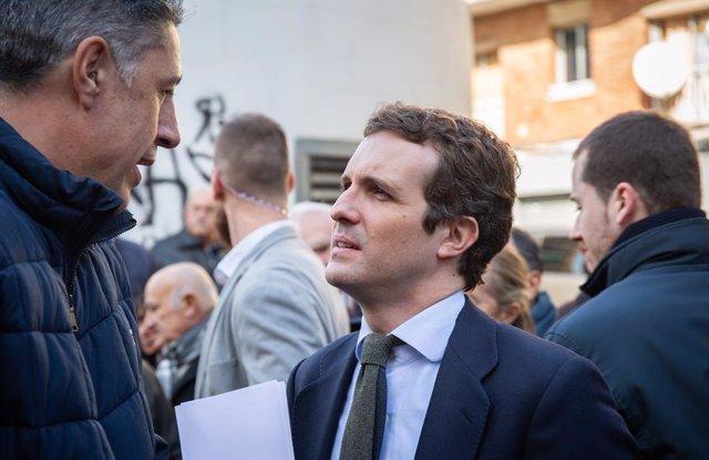 El president del PP, Pablo Casado, visita Catalunya