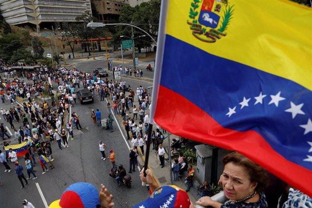 Manifestación en Caracas de apoyo a Juan Guaidó