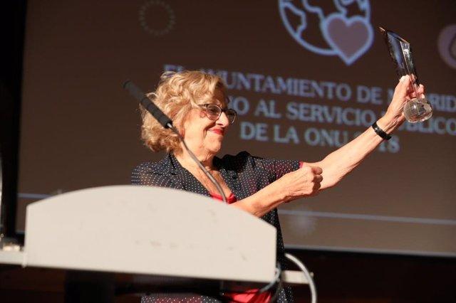 Manuela Carmena en la presentación de presupuestos participativos