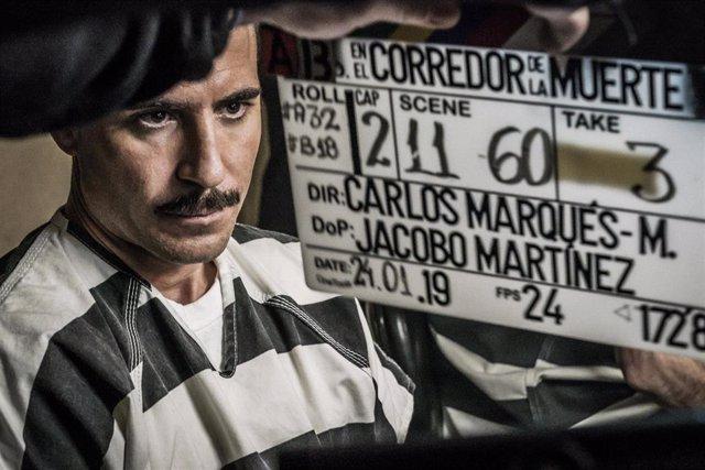 Miguel Ángel Silvestre caracterizado de Pablo Ibar