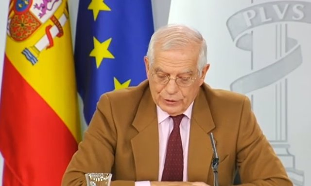 Rueda de prensa del ministro de Exteriores, Josep Borrell, tras el Consejo de Mi