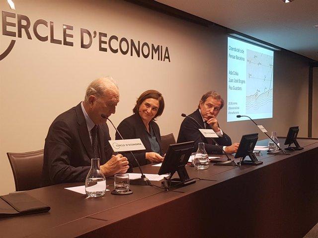 Ada Colau amb Juan José Bruguera (Cercle d'Economia) i Pau Guardans (Barcelona G