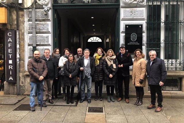 Delegació d'alcaldes i regidors de visita a Pontevedra amb l'ACM