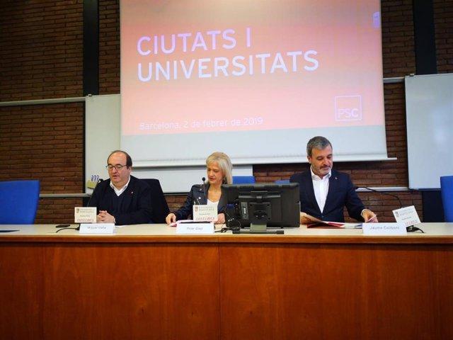 El líder del PSC, M.Iceta, la alcandesa de Esplugues, P.Días, y el candidato a l