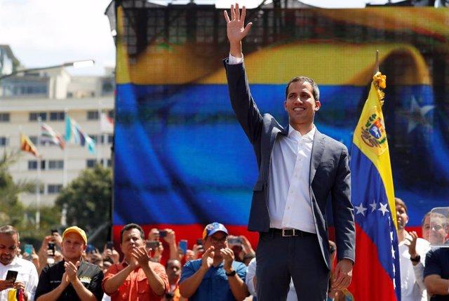 Juan Guaidó durante una manifestación en Caracas