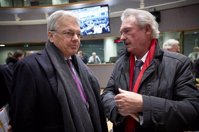 Didier Reynders, ministro de Exteriores belga, y su homólogo de Luxemburgo, Jean
