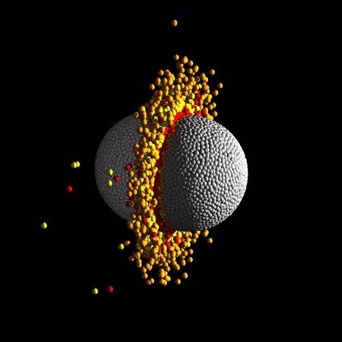 Simulación hidrodinámica de una colisión frontal de alta velocidad entre dos pla