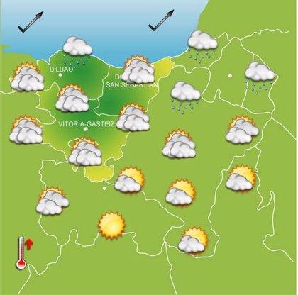 Temperaturas en ascenso este martes en Euskadi, con máximas que llegarán a los 15 grados