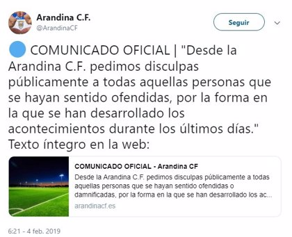 La Arandina C.F. pide disculpas y condena las pintadas dirigidas a su entrenador