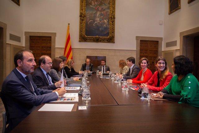 Reunión de la mesa del diálogo con el presidente Quim Torra en Barcelona