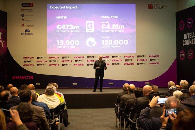 Presentació del Mobile World Congress 2019 a Barcelona. (arxiu)