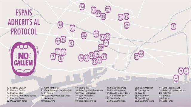 Mapa dels locals de Barcelona adherits al protocol 'No callem'