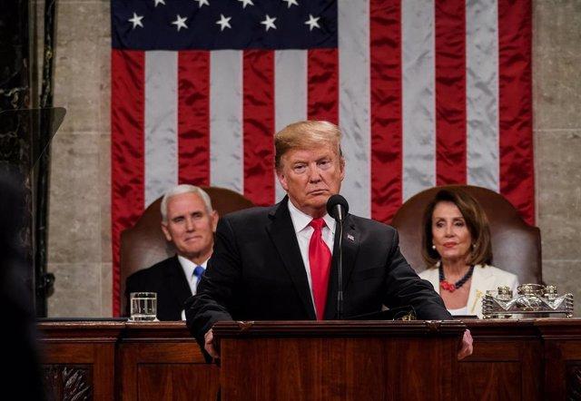 Presidente Donald Trump durante su discurso del Estado de la Unión