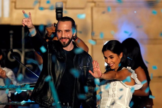 Presidential candidate Nayib Bukele of the Great National Alliance (GANA) and hi