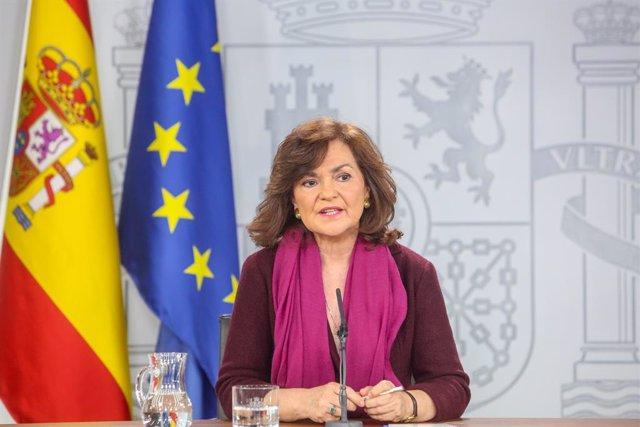 Compareixença de la vicepresidenta del Govern espanyol, Carmen Calvo