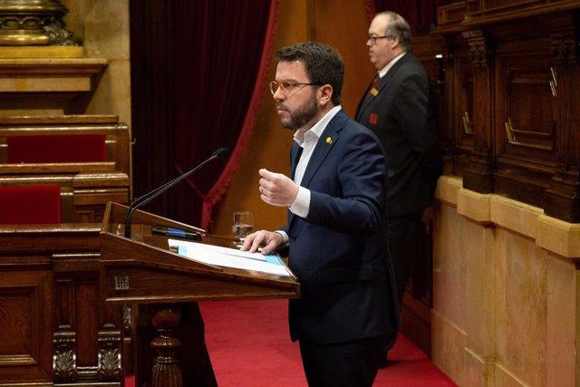 Pere Aragons en el ple del Parlament