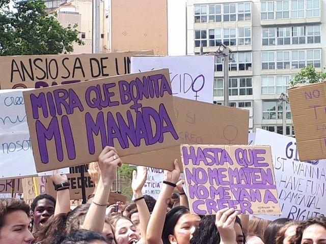 Manifestació d'estudiants contra la sentència de la Manada (arxiu)