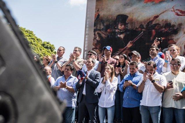 Manifestación en favor de Juan Guaidó