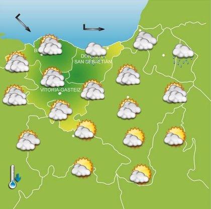Un frente poco activo dejará abundante nubosidad en la mitad norte de Euskadi este jueves