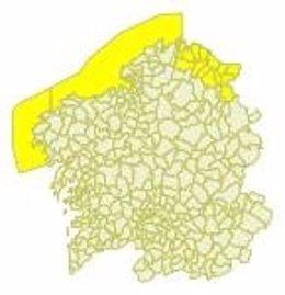 Aviso amarillo en A Mariña por viento fuerte