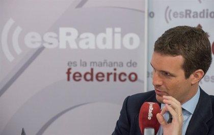 """Casado fa una crida a fer fora Sánchez amb una """"moció de censura"""" a les urnes aquest proper mes de maig"""