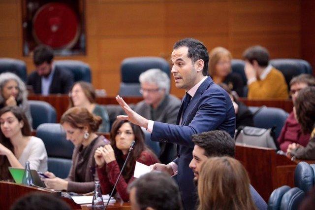El portavoz de Cs en la Asamblea de Madrid, Ignacio Aguado, recrimina a Garrido
