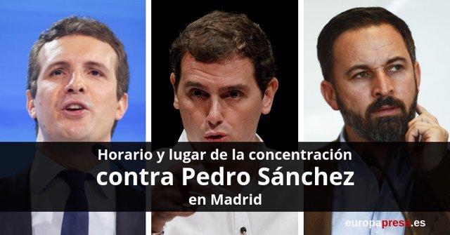 Manifestación contra Pedro Sánchez en la que participarán PP, Cs y Vox