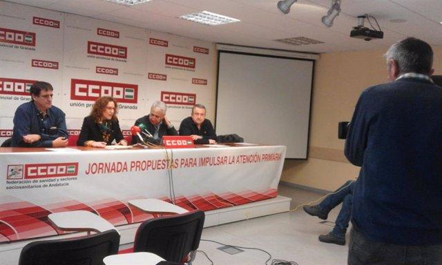 Rueda de prensa de CCOO, con su secretaria general en Andalucía, Nuria López