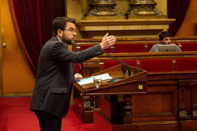 El vicepresident de la Generalitat, Pere Aragonès, en el ple del Parlament