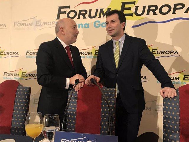 El delegado del Gobierno, Javier Losada, y el líder del PSdeG, Gonzalo Caballero