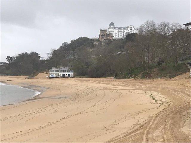 Estado de la playa de Los Peligros el mismo día de la reunión