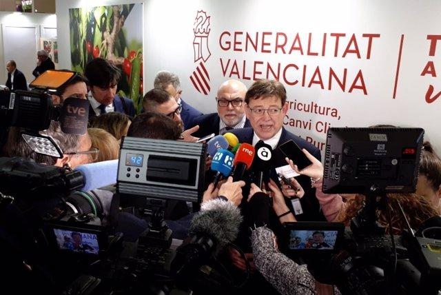 El president de la Generalitat Valenciana, Ximo Puig, atiende a los medios en Be