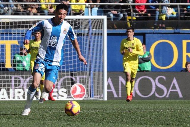 El jugador del RCD Espanyol Wu Lei en partido contra el Villarreal CF