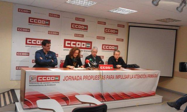 La secretaria general de CCOO-A, Nuria López, en rueda de prensa