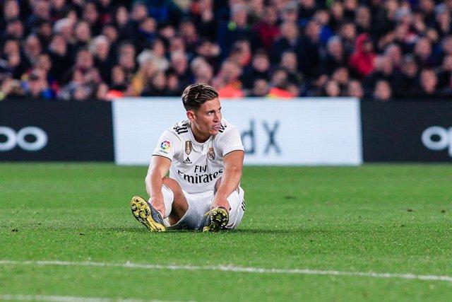 Marcos Llorente tras lesionarse en el Camp Nou