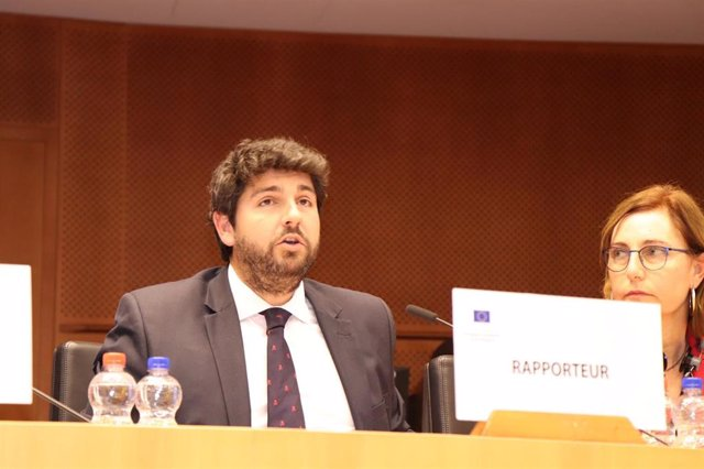 El presidente del PP regional, Fernando López Miras, este jueves en el Comité de