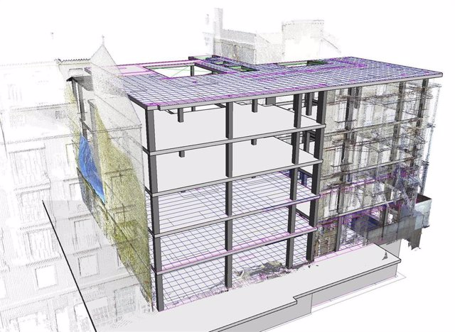 Estructura de una construcción en un modelo 3D digital