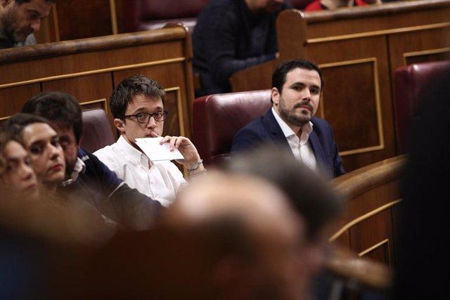 Errejón y Garzón en la sesión de control al Gobierno en el Congreso