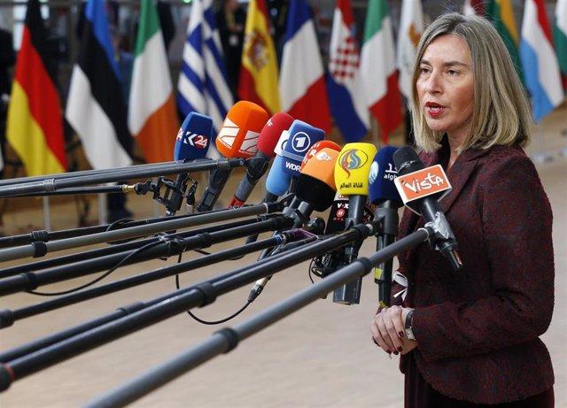 Federica Mogherini ante la prensa