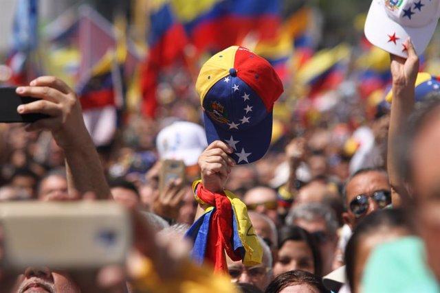 Manifestación de apoyo a Juan Guaidó