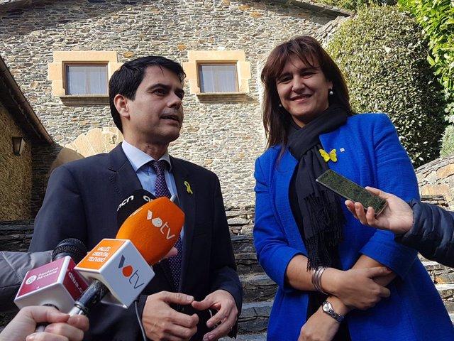 El president de la Diputació, Marc Castells, i la consellera de Cultura, Laura B