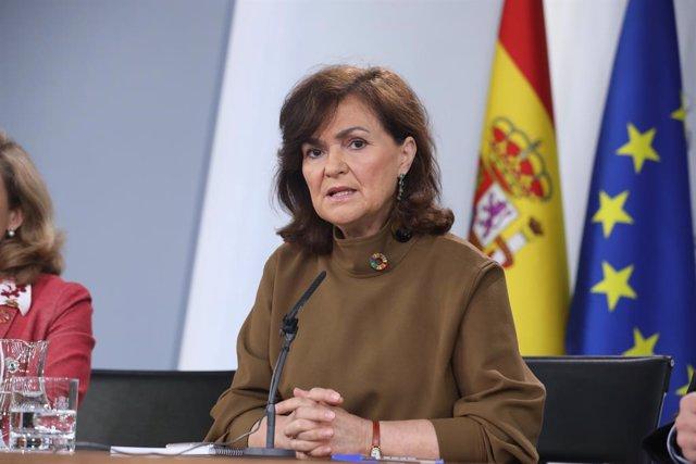 Carmen Calco en la roda de premsa posterior al Consell de Ministres