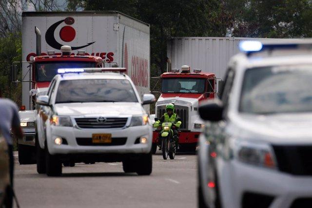 Llegan a la frontera de Colombia los primeros camiones con ayuda humanitaria par