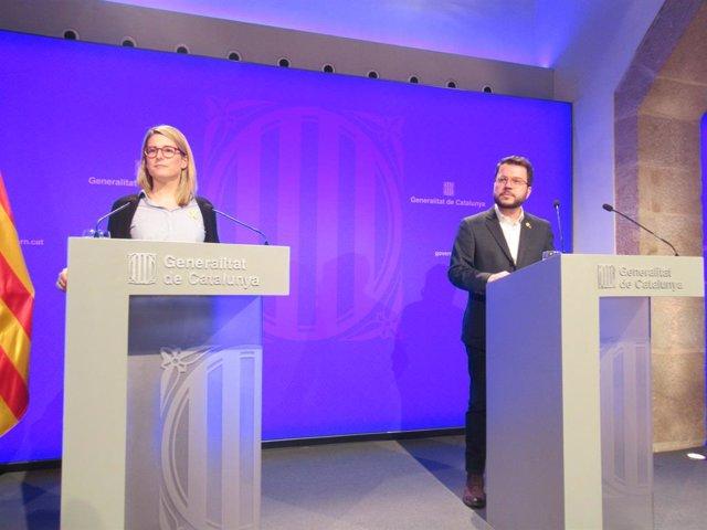 El vicepresident de la Generalitat, Pere Aragons, amb la consellera de Presidn