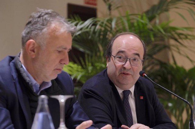 El secretario general del PSC, Miquel Iceta, este sábado en Tenerife